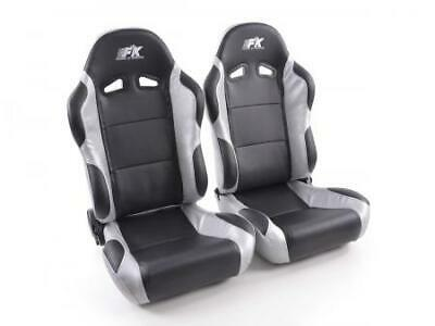 Pair Front Car Sports Seats Racing artificial leather black grey VW Audi Seat