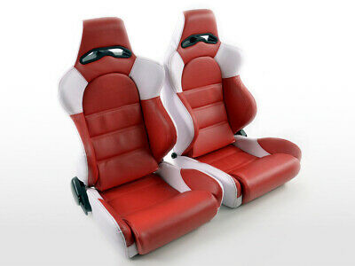 Pair Front Sport Seats Edition 1 Artificial Leather Red / White VW Audi Seat Sko