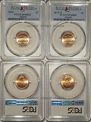 2010 P & D Lincoln Shield Cent 2 Coin Set 1c PCGS SP68RD Satin Finish