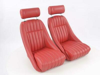 Pair Front Car Sports Seats Classic 2 artificial leather Red with headrest VW