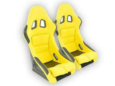 Pair Front Car Sports Bucket Seats Edition 2 fabric yellow VW Audi Seat Skoda