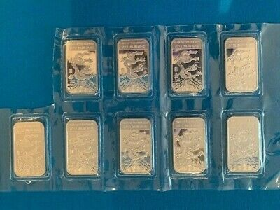 9 x 1 oz .999 Fine Solid Silver Bar - 2012 APMEX Year Of The Dragon