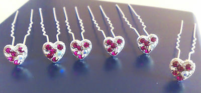 6 Red Crystal Bridal Hair Pins -----@@look@@