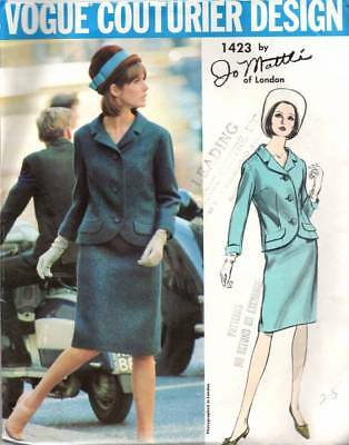 Vogue Couturier Design 1423 Vintage Sewing Pattern 1960s Mattli Coat Skirt Dress