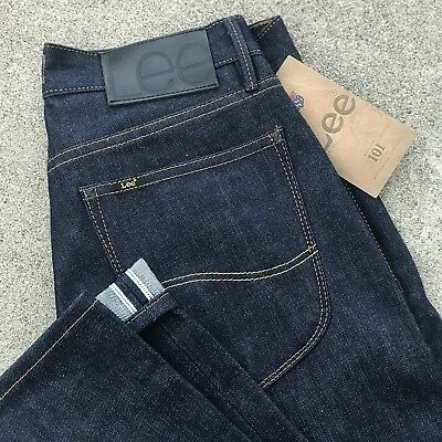 BNWT LEE 101 RIDER SLIM JEANS 12.5oz DRY INDIGO GOLDEN BLUE SELVAGE LOT#61 30//34