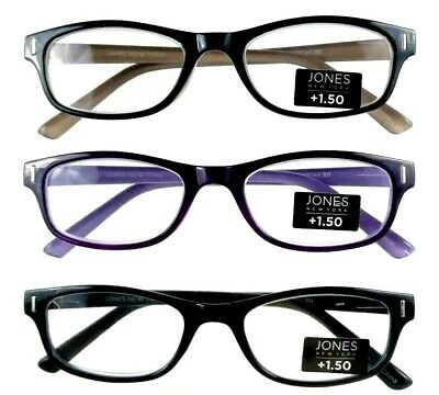 69c8f4259e72 Jones New York Multi Color Designer Readers +1.50 Womens 3 Pair Reading  Glasses