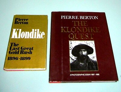 Signed Pierre Berton 2 book 1898 KLONDIKE GOLD RUSH 200 RARE PHOTOS Yukon Alaska