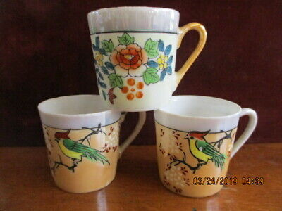 Antique Hand Painted 2 Birds 1 Flowers Demitasse Luster Ware Made In Japan Cups