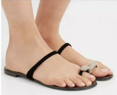 a46c7d0138898 GIUSEPPE ZANOTTI Nuvorock Crystal To Ring Black leather sandals Shoes 35.5  5.5