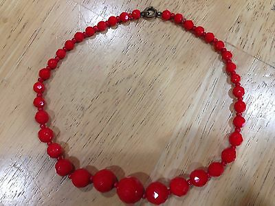 "Vintage Graduated Red Czech Glass Beads 15"" Antique?"