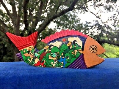 Vintage Hand Carved Hand Painted CHINESE KOI COI FISH China Asia Rice Paddy ❤️j8