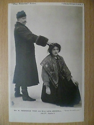 1903 Theatre Postcard:Resurrection-H.Beerbohm Tree, Lena Ashwell (+Stamp)