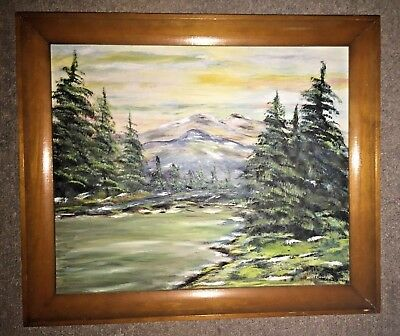 Vintage Signed WILL DOWDY Framed Oil Painting Art FOREST MOUNTAIN RIVER ❤️j8