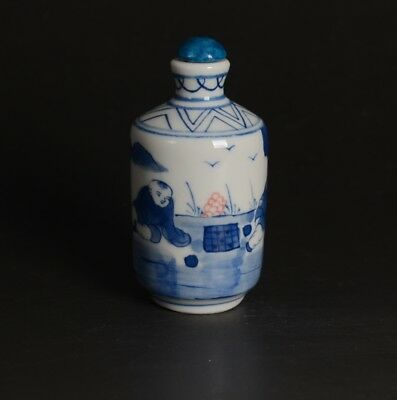 Chinese Hand Drawing Child at Play Blue and White Porcelain Snuff Bottle-JR12339