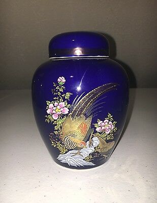 "Vintage Asian Style Blue Jar With Lid Flowers 5 1/2"" Japan"