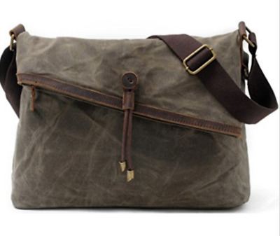 Cross body Bag  Waxed Canvas Vintage Genuine Leather Trim Fold Over Bag Unisex