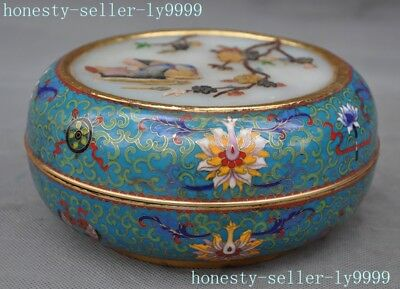 Chinese bronze Cloisonne 24k gold Gilt jade stone mosaic shell jewelry box case