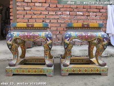 Chinese Huge royal Copper cloisonne enamel stool Pair