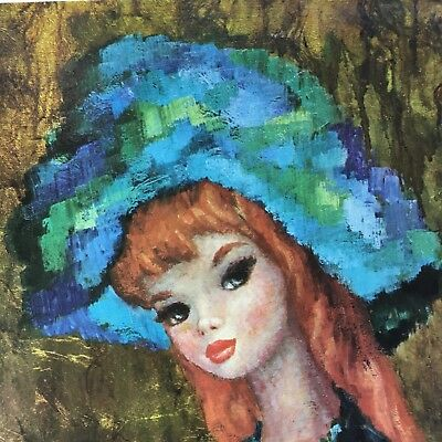 Antiques Paintings Precise Mid-century Vintage Harlequin Girl Oil Painting Retro Big Eyed Girl Mod Gely