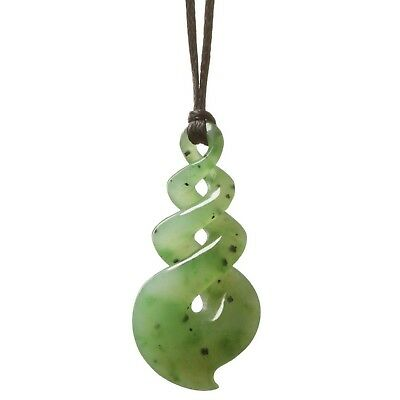 Maori-Style Hand Carved Green Jade stone Pendant//Necklace Chinese Knot MR03