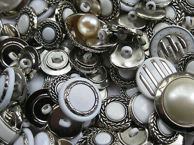 13mm - 30mm Fancy Silver White Mixed Bulk Lot 35+ Craft Sewing  Buttons 50gm
