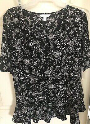 af79f9ad0ba576 TIME AND TRU Women's Ruffle Peplum Top, Black/White Floral, Size ...
