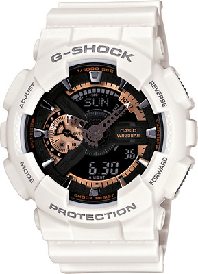 Casio G-Shock GA110RG-7A Men's Rose Gold with White Resin Band Sport Watch