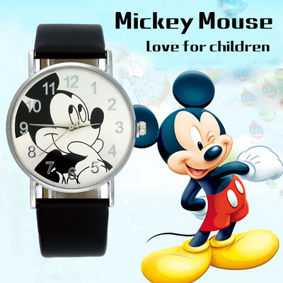 Mickey Mouse Leather Wrist Watch  Girl Women Cartoon Kids Watches - NEW VERSION