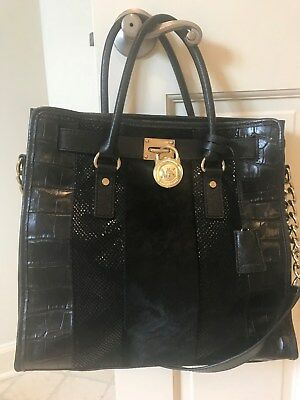 391421ccac30 Michael Kors Hamilton NS Large Black Mixed Media Calf Hair Leather Satchel  Tote