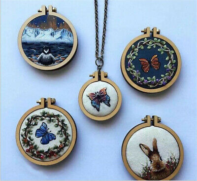 7 Pcs DIY Mini Wooden Cross Stitch Embroidery Hoop Ring Kit Frame Craft Gift HOT
