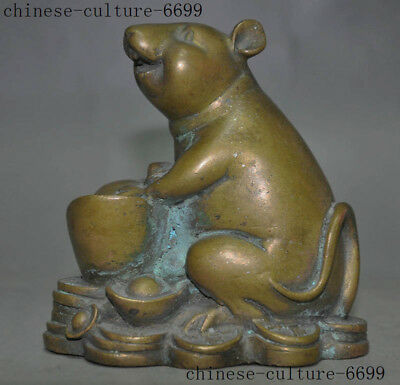 Old Chinese Bronze Feng Shui Wealth Mouse Rat Mice Bullions Ingot Yuanbao Statue