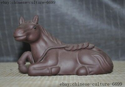 old Chinese Yixing Zisha pottery master carving wealth coin success horse statue