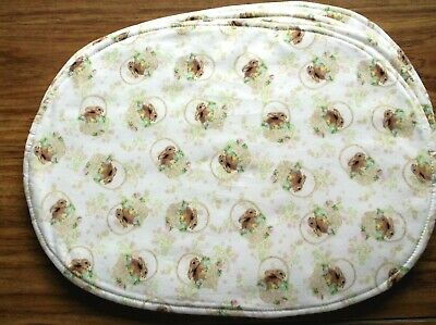 Easter Holiday Bunny Basket Flower Eggs Beige Brown Set of 4 Oval Placemats