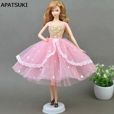 Romantic Pink Doll Dresses Evening Dress Clothes for 1/6 Doll Accessories Toy