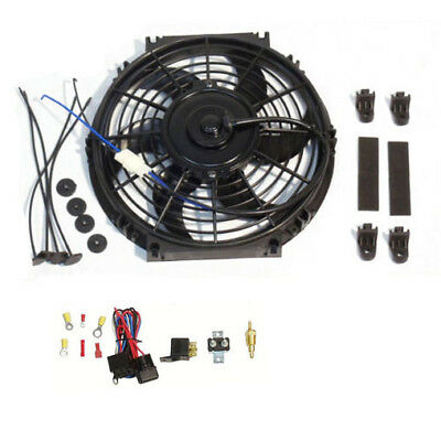 """10"""" Electric Curved Blade Reversible radiator Cooling Fans & Thermostat Kit"""