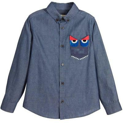 a603e8843fea85 NWT NEW FENDI boys blue chambray monster eyes button down shirt 6y ...
