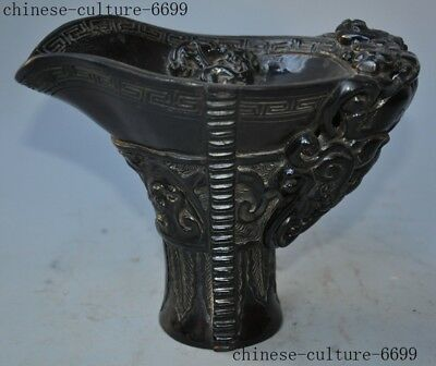 Old Chinese Ox Horn Oxen Bull carving Dragon beast Pattern Wineglass Cup Goblet