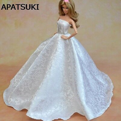 Pure White Formal Wedding Dress For 1/6 Dolls Party Dress + Hat Doll Clothes Toy