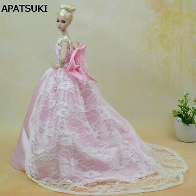 """Pink Wedding Dress for 11.5"""" Doll Party Wear Doll Clothes for 1/6 Dollhouse Toy"""