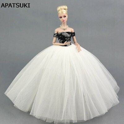 """Black White Wedding Dress Clothes for 11.5"""" Doll Clothes for 1/6 Dollhouse Toy"""