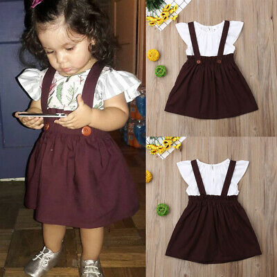fc431194d54 US Toddler Kids Baby Girl Ruffle Tops Shirt Suspender Skirt Dress Outfit  Clothes