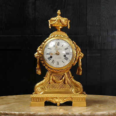 Early Ormolu Drum Head French Clock by Antoine Foullet 1770 Verge Lions Stunning