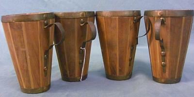 Group of four vintage folk art wood brass handmade drinking cups mugs