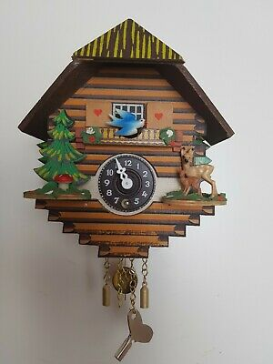 German Black Forest Mini Cuckoo Clock , Chalet House with Bird