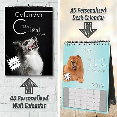 Personalised Wall/Desk Calendar Dog Theme With Your Wording & Photos   2019   A5