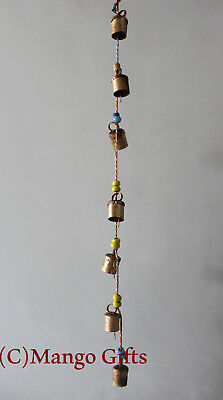 Decorative String of 7 Metal Vintage Indian Style Wall Hanging Bells Decoration