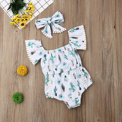 7805516d1 Newborn Baby Girl Cactus Romper Jumpsuit Bodysuit Casual Headband Outfit  Clothes