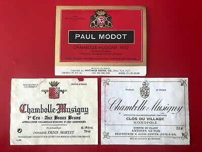 3 étiquettes / wine labels CHAMBOLLE-MUSIGNY 1952...