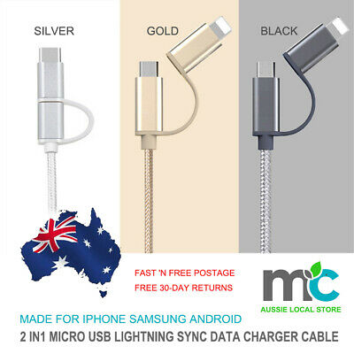 2 in1 Micro USB Lightning Sync Data Charger Cable For iPhone Samsung Android