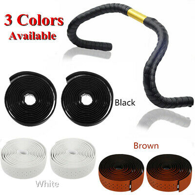 2pcs PU Leather Road Bike Sports Handlebar Tape Faux Leather Wrap +2